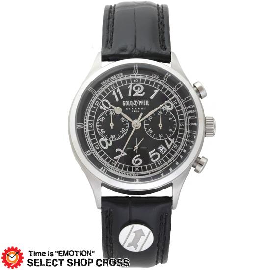 GOLD PFEIL ゴールドファイル クロノグラフシリーズ メンズ 腕時計 G11004SB ブラック 黒 【 正規品 】 【男性用腕時計 リストウォッチ ランキング ブランド 防水 カラフル】