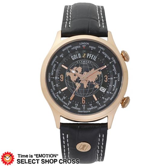 GOLD PFEIL ゴールドファイル ワールドタイム搭載モデル メンズ 腕時計 G21000PB ブラック 黒 【 正規品 】 【男性用腕時計 リストウォッチ ランキング ブランド 防水 カラフル】