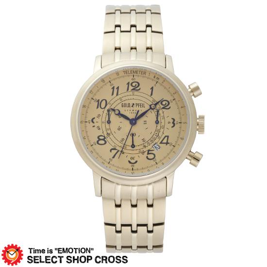 GOLD PFEIL ゴールドファイル クロノグラフシリーズ メンズ 腕時計 G51005GC シャンペーンゴールド 【 正規品 】 【男性用腕時計 リストウォッチ ランキング ブランド 防水 カラフル】