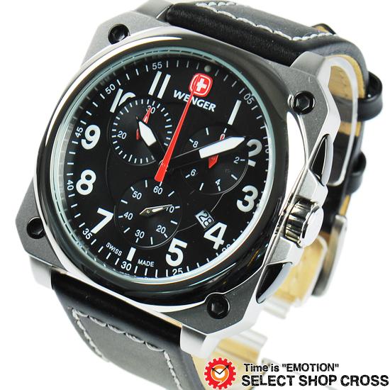 ウェンガー WENGER 腕時計 アナログ メンズ Aerograph Cockpit エアログラフコックピット 77015 ブラック 黒