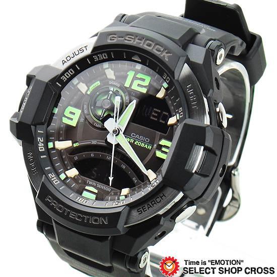 【名入れ対応】 【100%本物保証】 【3年保証】 腕時計 Gショック 防水 ジーショック G-SHOCK CASIO カシオ メンズ スカイコクピット アナデジ GA-1000-1B ブラック 黒 海外モデル