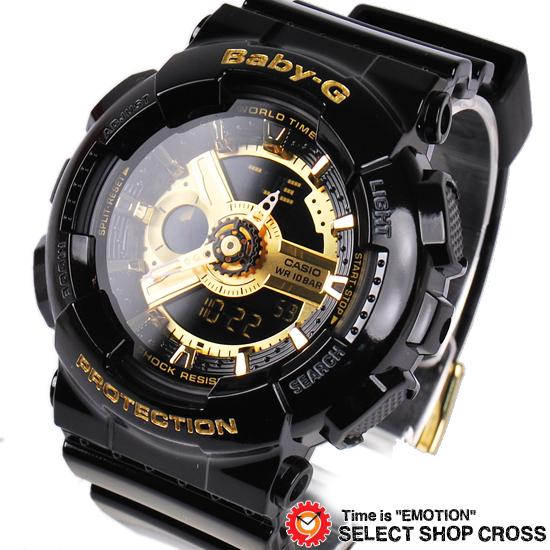 【名入れ対応】 【3年保証】 ベビーG カシオ Baby-G CASIO レディース キッズ 子供 腕時計 ブランド アナログ BA-110-1ADR ブラック/ゴールド 海外モデル bigcase baby-g BA110 【あす楽】