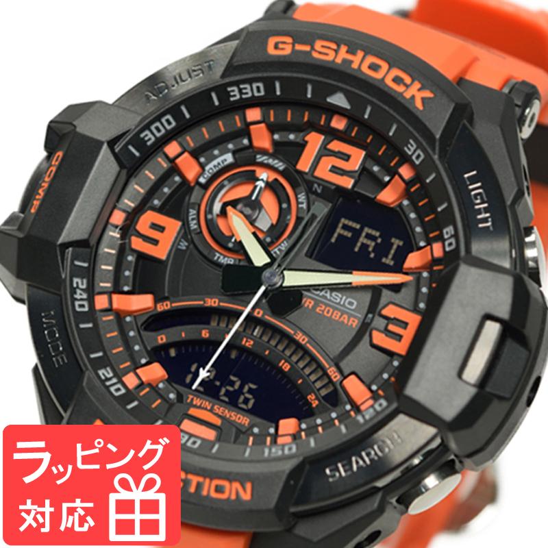 【無料ギフトバッグ付き】 【名入れ対応】 【3年保証】 カシオ 腕時計 CASIOG-SHOCK G-ショック SKY COCKPIT スカイコックピット GA-1000-4A 防水 ジーショック メンズ 時計 GA-1000-4ADR ブラック 黒 オレンジ 海外モデル カシオ 腕時計