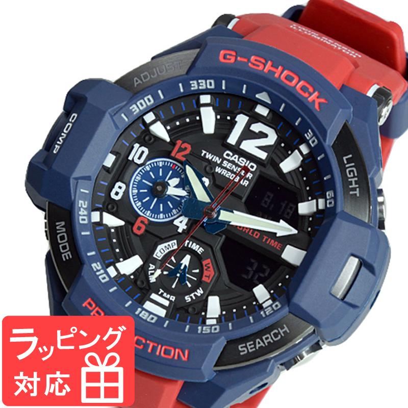 【名入れ・ラッピング対応可】 【3年保証】 G-SHOCK CASIO カシオ Gショック 防水 ジーショック メンズ 腕時計 SKY COCKPIT アナログ GA-1100-2ADR ネイビー/レッド 海外モデル