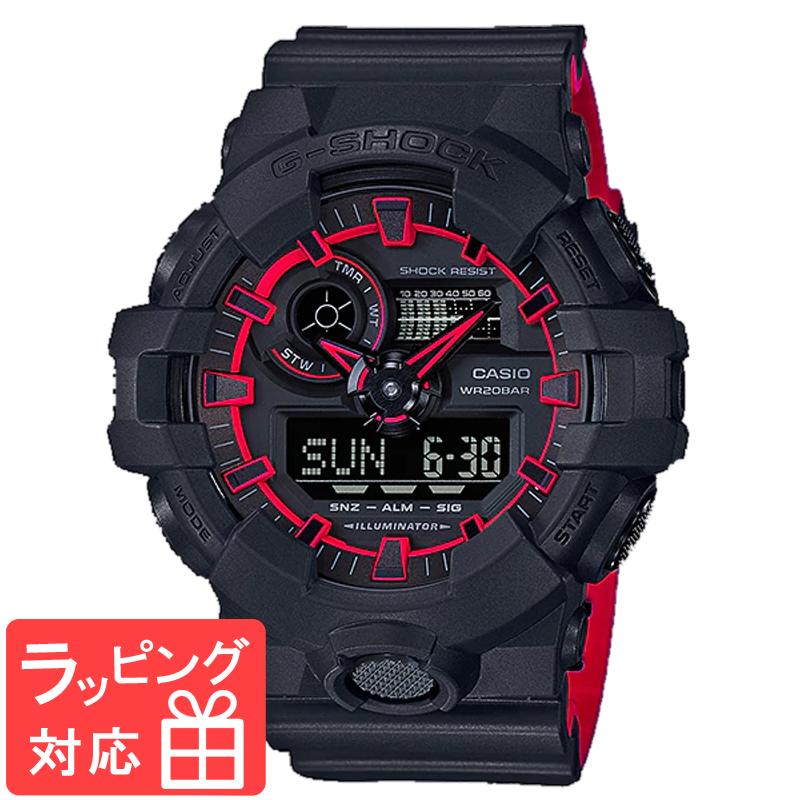 【名入れ対応】 【3年保証】 カシオ 腕時計 CASIO Gショック 防水 GA-700SE-1A4DR オールブラック G-SHOCK ジーショック メンズ アナデジ デジタル アナログ 時計 GA-700SE-1A4 ブラック 黒 レッド カシオ 腕時計