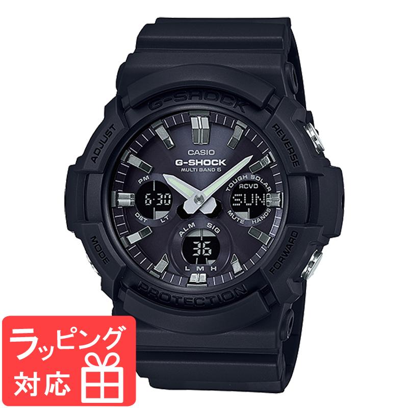 【名入れ対応】 【3年保証】 カシオ CASIO 電波 ソーラー アナログ デジタル メンズ ウレタン ブラック ブルー 腕時計 GAW-100B-1ADR 海外モデル 【あす楽】