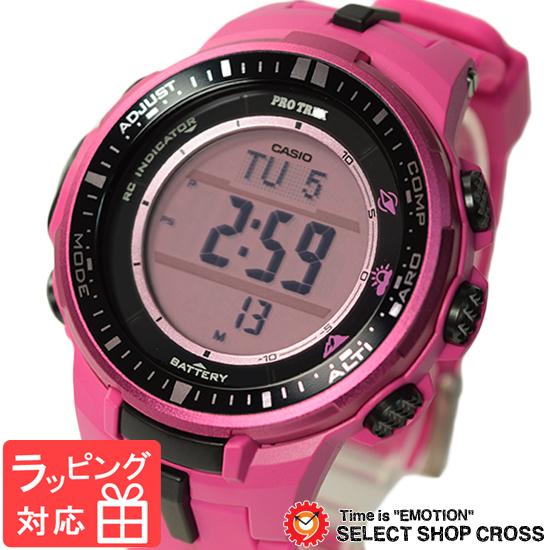 【名入れ対応】 【3年保証】 CASIO カシオ PRO TREK プロトレック メンズ 腕時計 電波時計 電波 ソーラー トリプルセンサーVer.3 デジタル PRW-3000-4BDR ピンク 海外モデル [国内 PRW-3000-4BJF と同型]