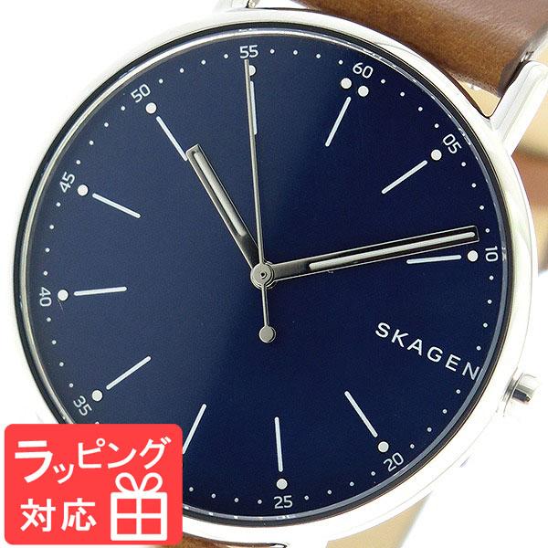 【3年保証】 スカーゲン メンズ レディース ユニセックス 腕時計 SKAGEN 時計 スカーゲン 時計 SKAGEN 腕時計 人気 シグネチャー SIGNATUR クオーツ SKW6355 ネイビー/ブラウン スカーゲン レディース