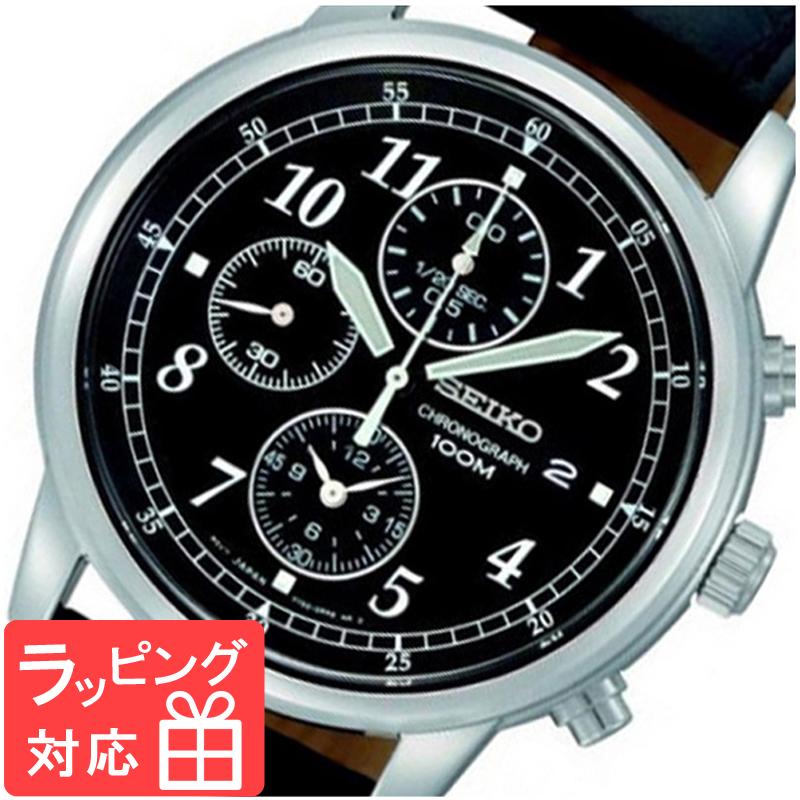 【3年保証】 セイコー SEIKO クロノグラフ クオーツ メンズ 腕時計 SNDC33P1 ブラック