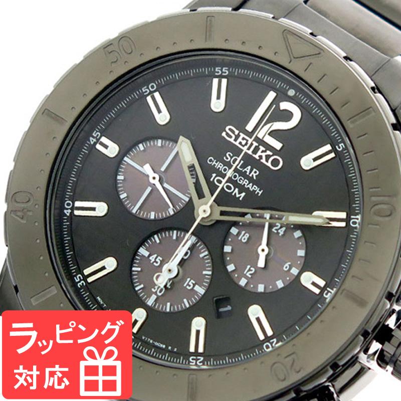 【無料ギフトバッグ付き】 【3年保証】 セイコー SEIKO 腕時計 メンズ SSC225P1 クロノグラフ クオーツ ブラック 海外モデル
