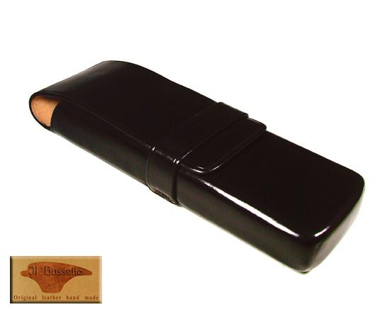 イルブセット IL Bussetto レザー 革 ペンケース 文具 2本用 ダークブラウン 正規品 【あす楽】