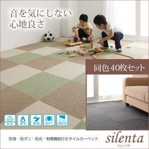 防音・防ダニ・防炎・制電機能付きタイルカーペット【silenta】シレンタ 同色40枚入り