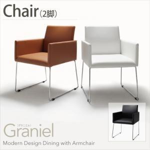 【テーブルなし】チェア2脚セット【Graniel】ホワイト モダンデザインアームチェア付きダイニング【Graniel】グラニエル チェア2脚【代引不可】