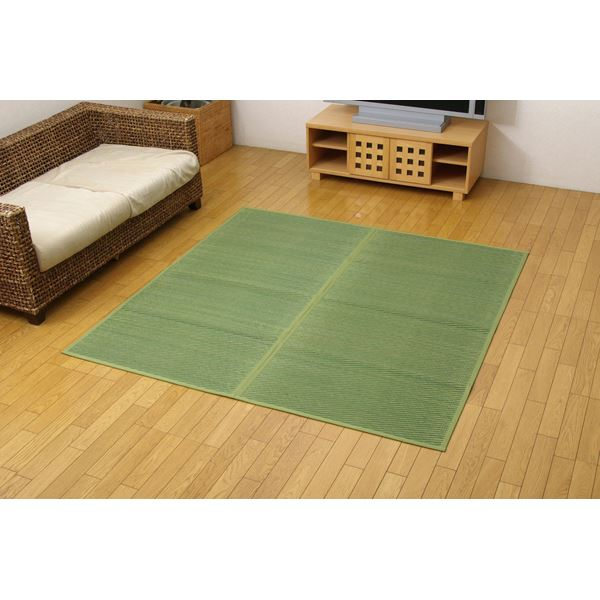 い草花ござ カーペット 『DXクルー』 グリーン 本間6畳(約286.5×382cm) (裏:不織布) 抗菌、防臭効果