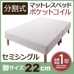 脚付きマットレスベッド セミシングル 脚22cm 新・移動ラクラク!分割式ポケットコイルマットレスベッド