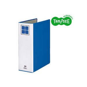 (まとめ)TANOSEE 片開きパイプ式ファイルE A4タテ 80mmとじ 青 30冊