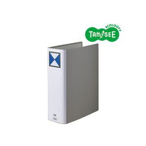 (まとめ)TANOSEE 両開きパイプ式ファイル A4タテ 80mmとじ グレー 30冊