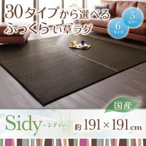 ラグマット 191×191cm【Sidy】グリーン 30タイプから選べる国産ふっくらい草ラグ【Sidy】シディ【代引不可】