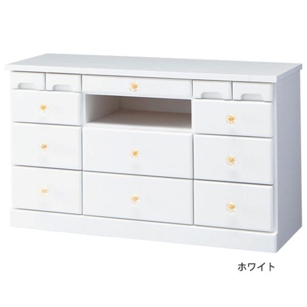 大容量リビングボード(テレビ台/サイドボード) 木製 【幅82cm×高さ48cm】 ホワイト(白)
