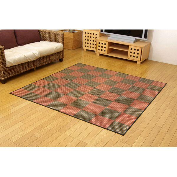 純国産/日本製 い草花ござカーペット レッド(赤) 江戸間2畳(約174×174cm) 抗菌&防臭効果