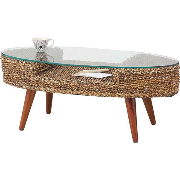 ローテーブル/強化ガラステーブル【クラール】 木製 棚収納付き アジアン家具 オーバル型 NRT-415