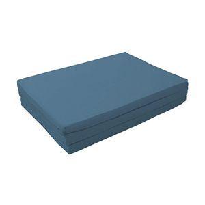 マットレス ブルーグリーン ダブル 厚さ6cm 新20色 厚さが選べるバランス三つ折りマットレス【代引不可】
