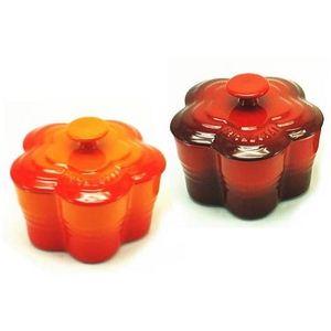 ル・クルーゼ (Le Creuset) ラムカンフルール S (フタ付き) ペアセット オレンジ&チェリーレッド(赤)