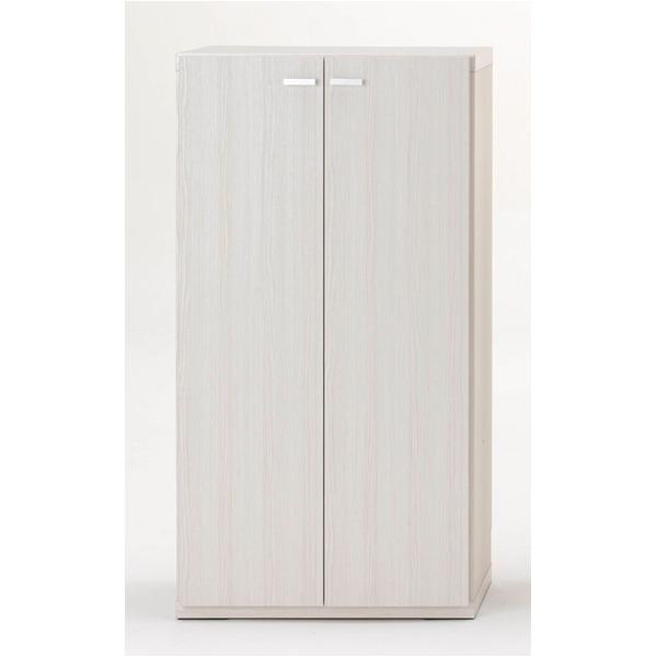 フナモコ リビングシェルフ 扉付き 【幅60×高さ113.8cm】 ホワイトウッド KFS-60【完成品】 日本製