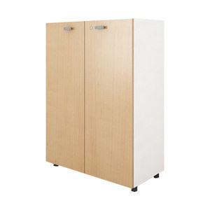 イタリア製 木製3段両開き デザイン書庫 扉:メープル 本体:ホワイト 1台 740819/742714