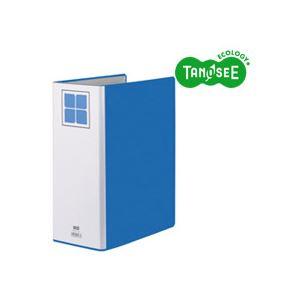 (まとめ)TANOSEE 両開きパイプ式ファイルE A4タテ 100mmとじ 青 30冊