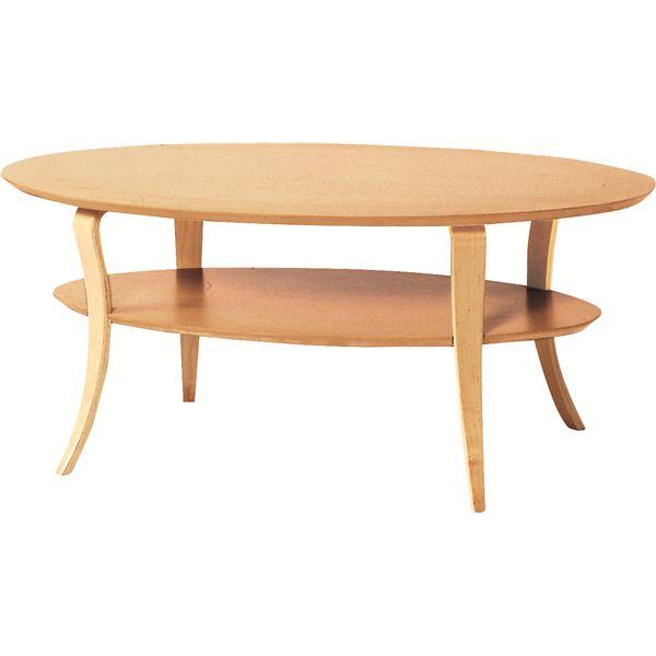 ローテーブル オーバル型 木製 棚収納付き NET-406NA ナチュラル