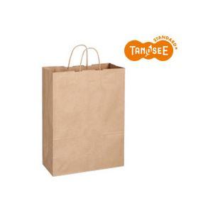 (まとめ)TANOSEE 手提袋 丸紐 茶無地・特大 50枚入×6パック