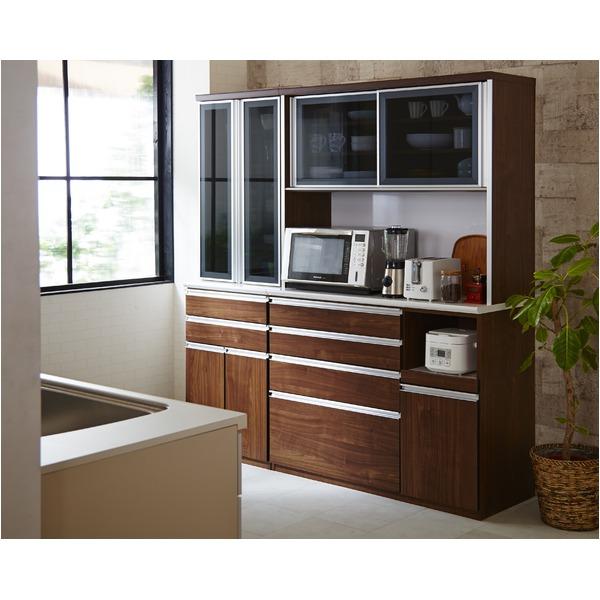 【開梱設置費込】食器棚 RNシリーズ 120cm幅 ダイニングボード キッチンボード 木目 ウォールナット 【日本製】【代引不可】
