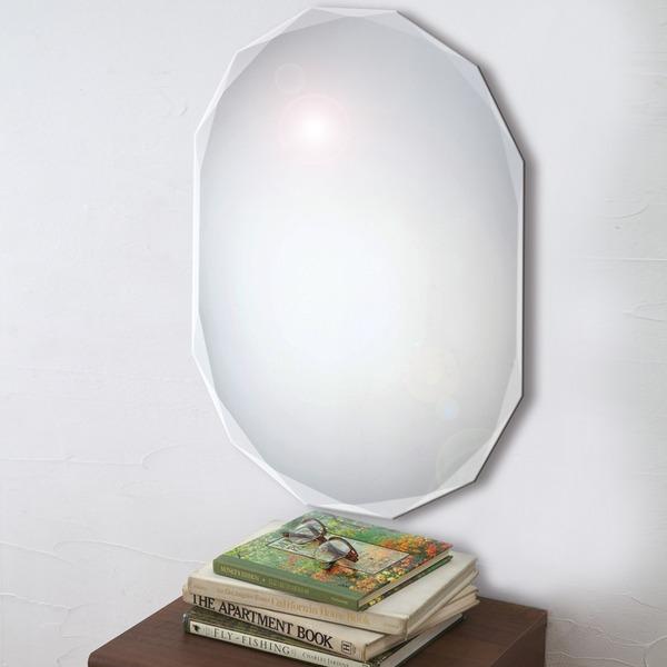 ノンフレーム ウォールミラー/壁掛け鏡 【幅60cm×奥行3cm×高さ80cm】 飛散防止加工【代引不可】