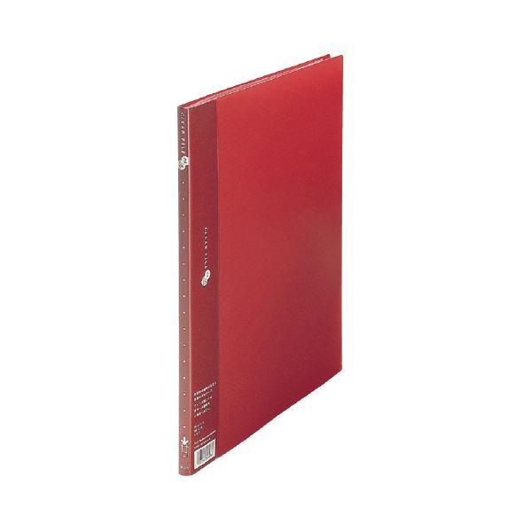 (業務用10セット) プラス クリアーファイル10P FC-121EL A4S 赤 10冊