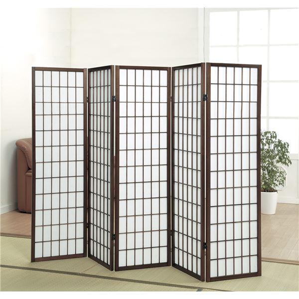 パーテーション/衝立/障子スクリーン5連 高さ148.5cm 木製フレーム【代引不可】