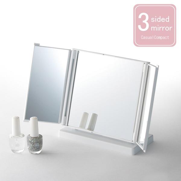 【12個セット】カジュアルコンパクトミラー ホワイト(白) (折りたたみ三面鏡/卓上ミラー) 飛散防止加工/角度調整可/スリム/スタンド/折り畳み/完成品/NK-245