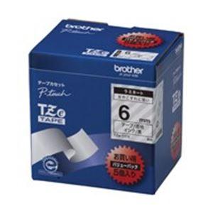 (業務用5セット) brother ブラザー工業 文字テープ/ラベルプリンター用テープ 【幅:6mm】 5個入り TZe-111V 透明に黒文字