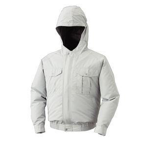 空調服 フード付き ポリエステル製空調服(KU90810) リチウムバッテリーセット(LIPRO2) ファンカラー:グレー 【 シルバー サイズ:XL】