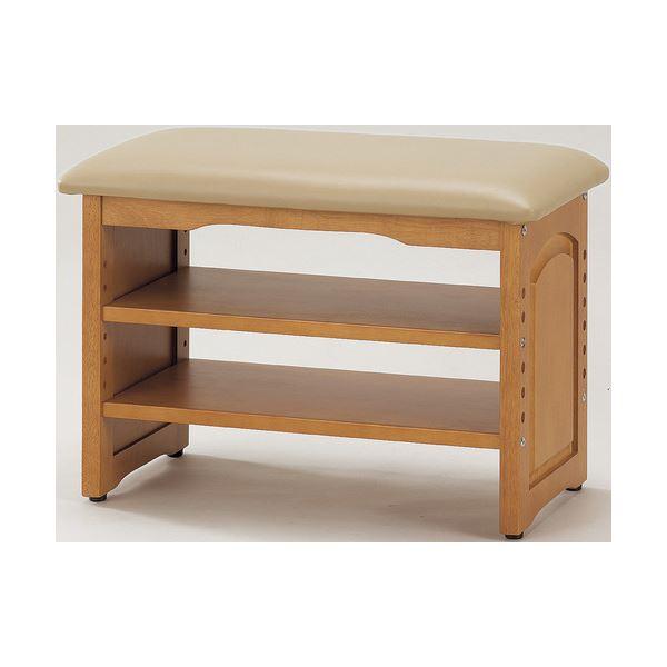 収納付き 玄関ベンチ/腰掛け椅子 【幅60cm】 木製 クッション座面 ガタつき防止付き【代引不可】