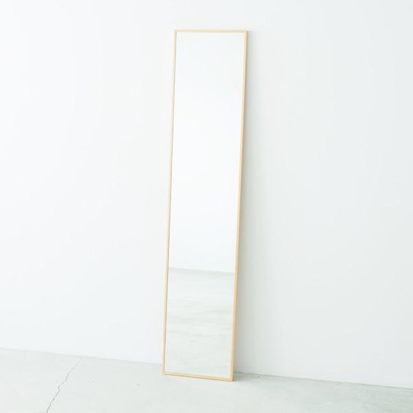 細枠ウォールミラー 幅32cm(ナチュラル) 天然木/姿見鏡/スリム/高級感/木製/飛散防止加工/壁掛け/北欧風/日本製/完成品/NK-6
