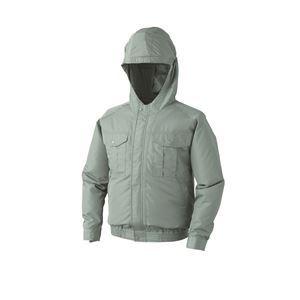 空調服 フード付き ポリエステル製空調服(KU90810) リチウムバッテリーセット(LIPRO2) ファンカラー:グレー 【 モスグリーン サイズ:4L】