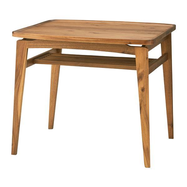 木目調ダイニングテーブル/リビングテーブル 【正方形 幅80cm】 木製 天然木/アカシア NET-721T