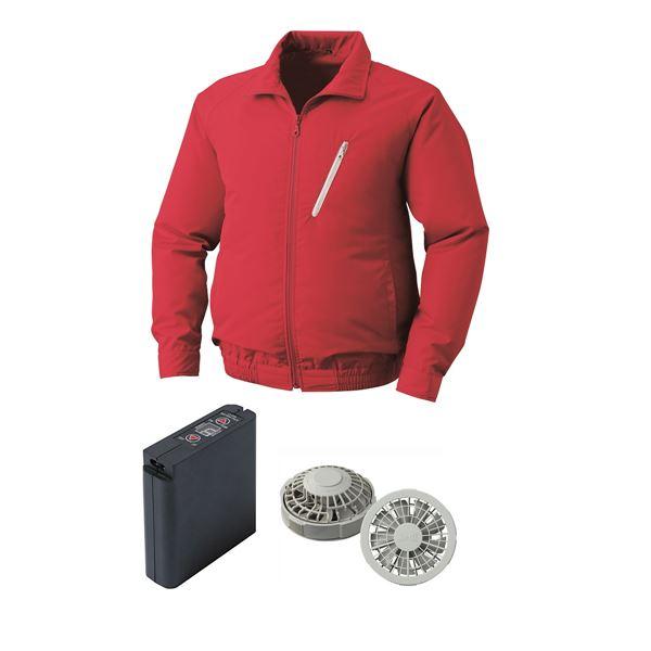 屋外用 空調服/作業着 【ファンカラー:グレー カラー:レッド XL】 大容量バッテリーセット 撥水機能 ポリエステル
