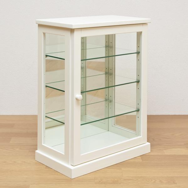 コレクションケース 【タテ型】 木製(天然木)/ガラス 幅45cm×奥行26.5cm ホワイト(白)【代引不可】