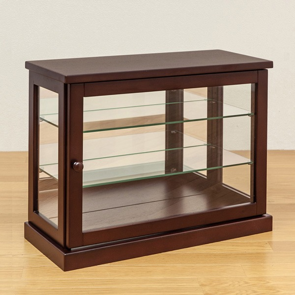 コレクションケース 【ヨコ型】 木製(天然木)/ガラス 幅60cm×奥行26.5cm ダークブラウン【代引不可】