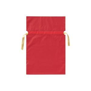 (業務用30セット) カクケイ 梨地リボン付き巾着袋 赤 M 20枚FK2403