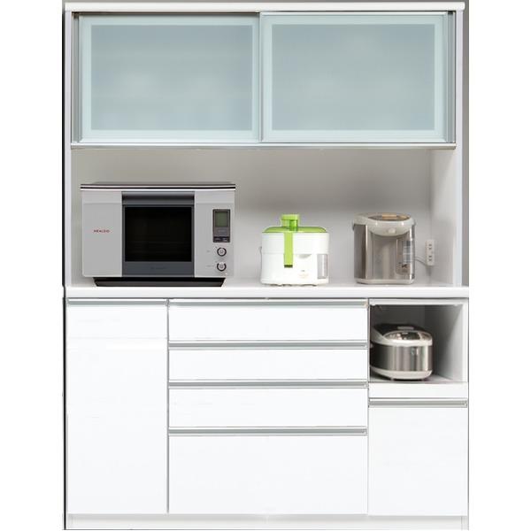 【開梱設置費込】食器棚 RNシリーズ 150cm幅 ダイニングボード キッチンボード 白木目 ハイグロス 【日本製】【代引不可】