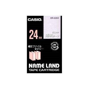 (業務用30セット) カシオ CASIO 白文字テープ XR-24AX 透明に白文字 24mm