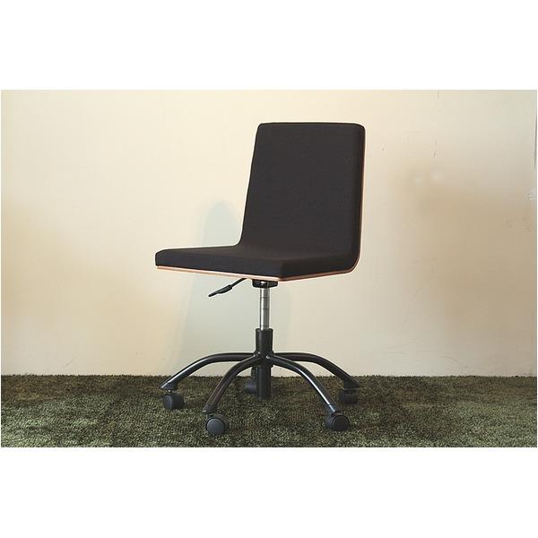 オフィスチェア(パソコンチェア) 木製(ウォールナット)/ファブリック キャスター付き ブラック(黒)【代引不可】